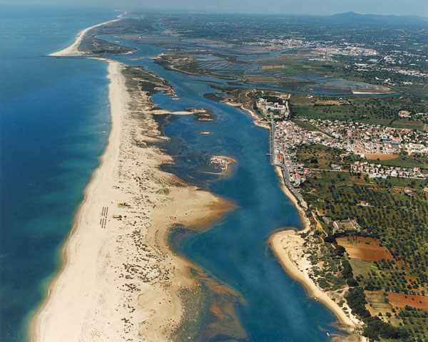 Long, sandy beach and laguna of Cabanas de Tavira, close to Costa de Cabanas