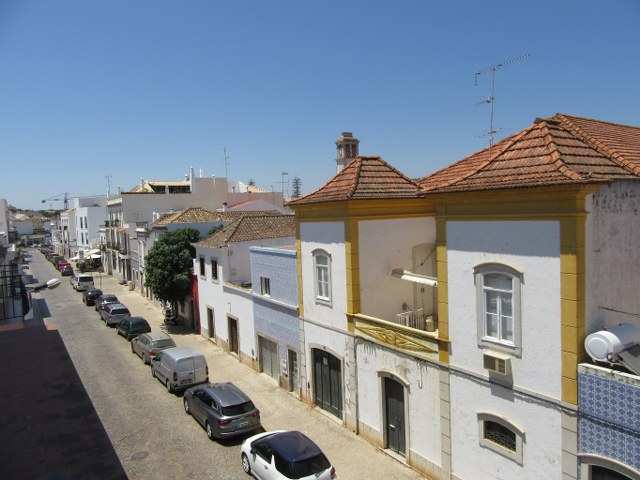 View from the living room over the roof tops of the old traditional houses in the centre of Tavira