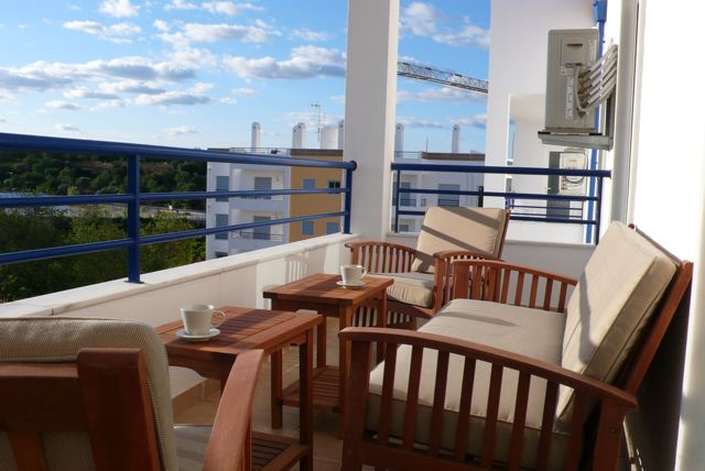 South facing terrace in front of living room of a two bedroom apartment in Tavira with beautiful views